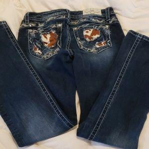 Cowhide pocket Miss Me Jeans
